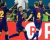 Barcelona celebrate a goal against Real Madrid