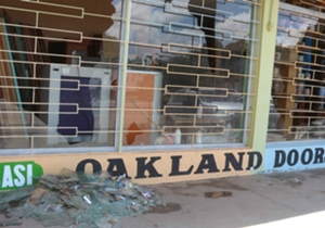 The damage caused by rowdy Gor Mahia fans after their team lost 3-2 to Sofapaka at Machakos Stadium.