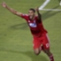 Tesho Akindele celebrates his goal against Vancouver.