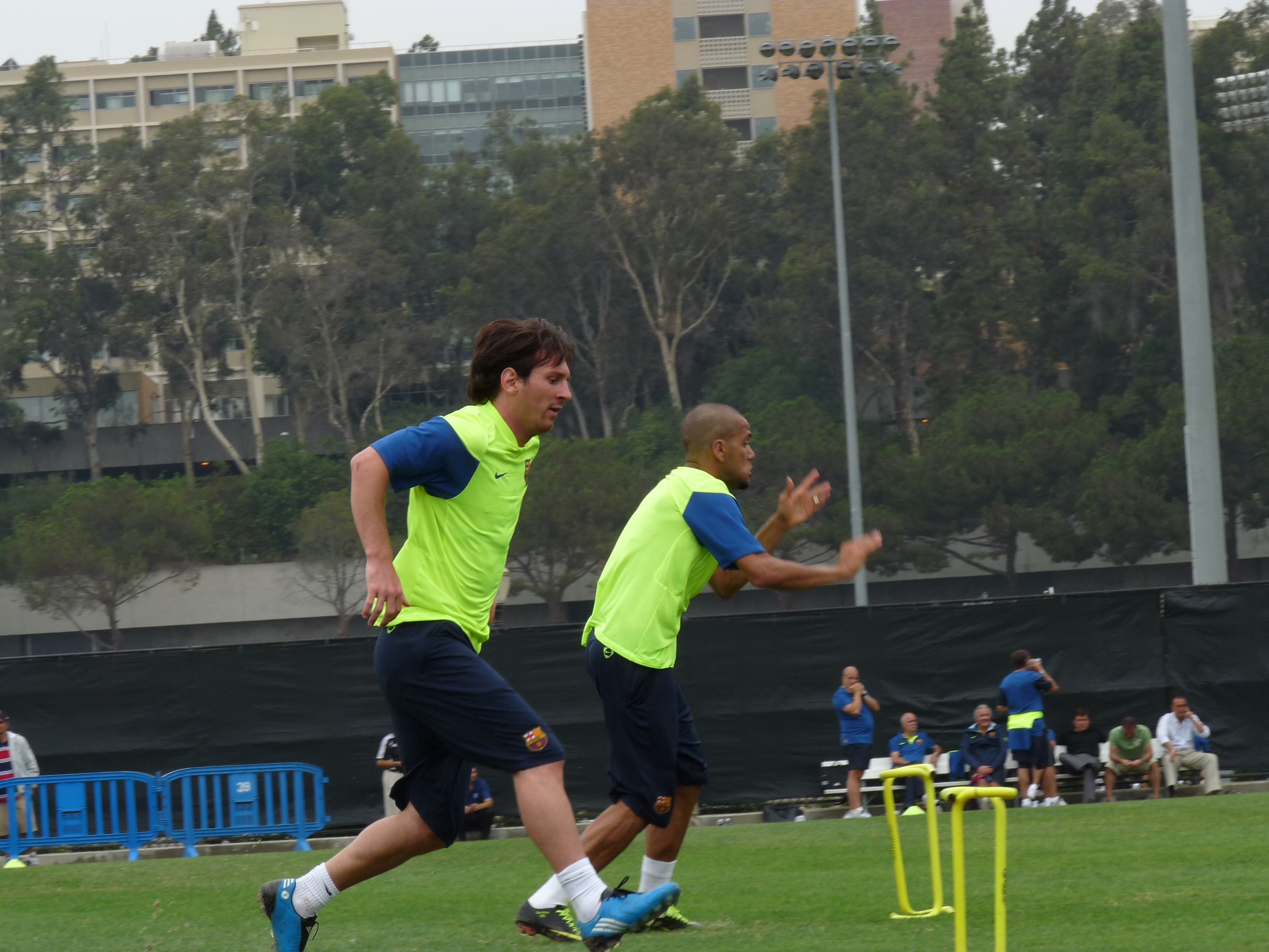 Lionel Messi and Dani Alves training for Barcelona during the USA tour