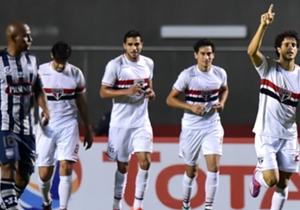 Hudson comemora seu primeiro gol pelo Tricolor