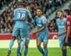 Radamel Falcao (C) celebrates with Monaco team-mates