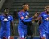 Siyabonga Nhlapo celebrates SuperSport United goal with teammate