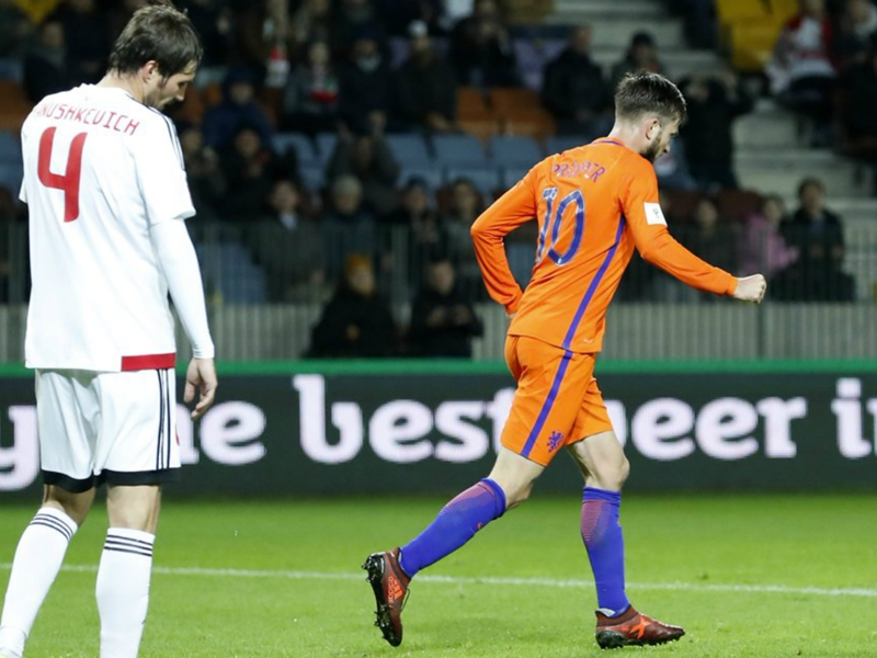 Belarus 1 Netherlands 3: Fast-finishing Oranje stay alive in World Cup qualifying