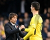 Chelsea coach Antonio Conte and Thibaut Courtois