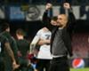Pep Guardiola celebrates Manchester City's win at Napoli