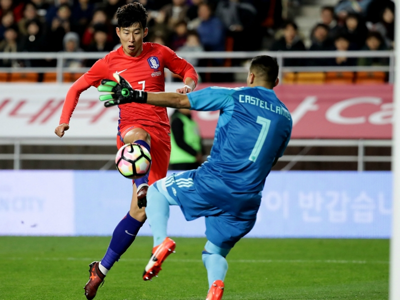 South Korea 2 Colombia 1: Son shines to give Shin first win