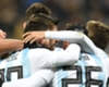 Argentina players celebrate Sergio Aguero's goal against Russi