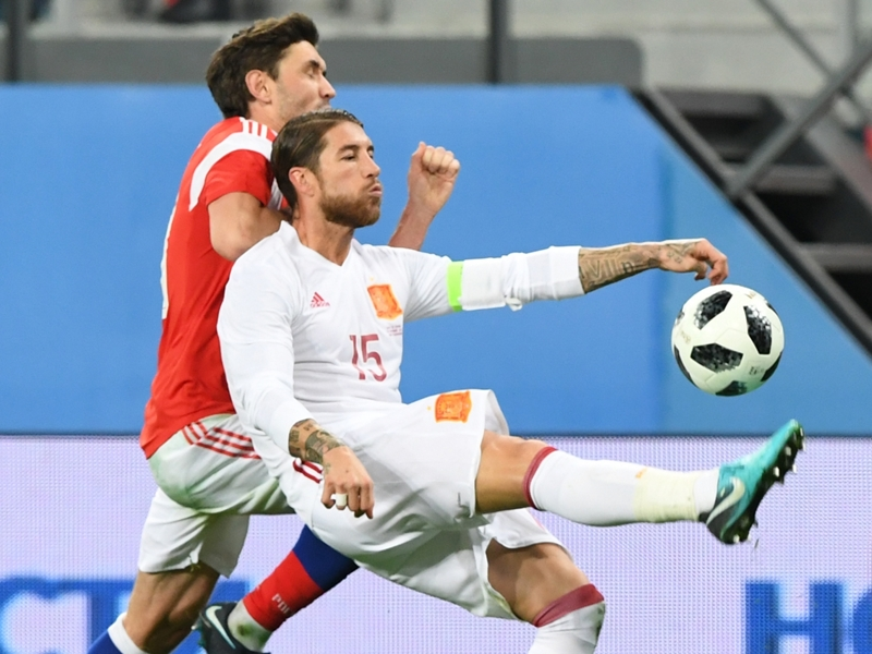 Ramos nets twice as Spain draw with Russia