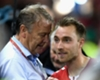 Age Hareide and Christian Eriksen celebrate Denmark's World Cup qualification