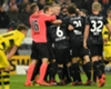 Stuttgart players celebrate against Borussia Dortmund