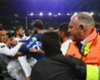Everton and Lyon players clash during a Europa League game