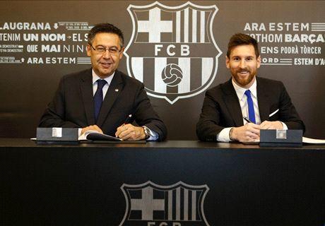 Messi firma su contrato con el Barcelona