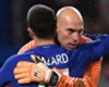 Eden Hazard and Willy Caballero celebrate Chelsea's win
