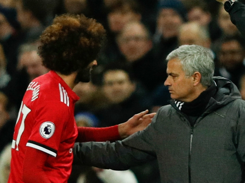 Substitute Fellaini taken off after just seven minutes by Mourinho against Spurs