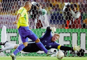 June 30 2002: Scores twice in the 2002 World Cup final against Germany in Yokohama