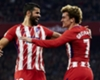 Diego Costa (L) celebrates a goal with Antoine Griezmann