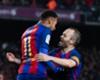Neymar and Andres Iniesta celebrating a Barcelona goal