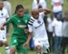 Siyethemba Mnguni of AmaZulu challenges Luvuyo Memela of Orlando Pirates, April 2018