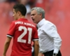 Ander Herrera in conversation with Jose Mourinho at Wembley