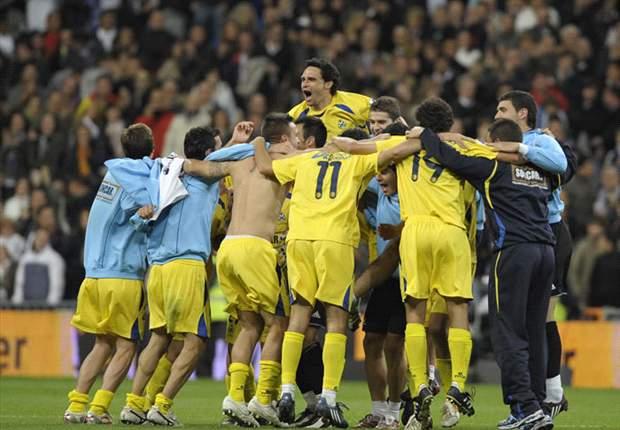 Celebración de los amarillos en la eliminatoria de 2009 ante el Real Madrid