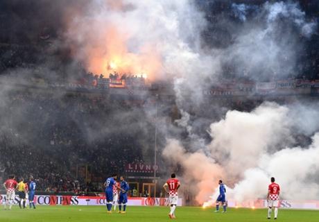 In Beeld: Vuurwerk bij Italië - Kroatië