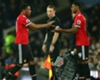 Anthony Martial (L) is substituted for Marcus Rashford