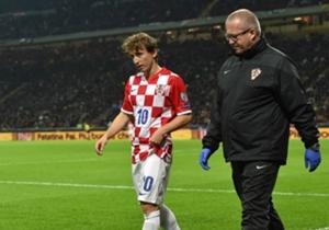 Modric, en el momento de su lesión