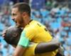 Eden Hazard and Romelu Lukaku celebrate against Tunisia
