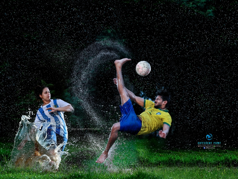 Argentina vs Brazil - Kerala couple's World Cup themed wedding photoshoot
