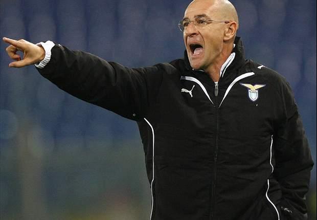Lazio President Claudio Lotito Shows Coach Davide Ballardini Faith