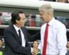 Unai Emery shakes hands with Arsene Wenger