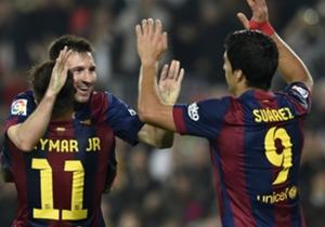 Sudamérica unida: Suárez, Messi y Neymar fundidos en una celebración.