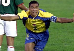Iván Ramiro Córdoba celebrando el gol que le entregó el título a Colombia