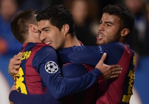 Luis Suarez has scored his second goal in the Champions League and his first for Barcelona in any competition