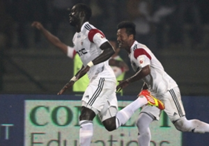 Massamba Lo Sambou (left) doubled NorthEast's lead after Durga Boro scored the 10th minute opener