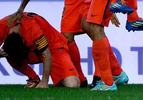 Messi struck by bottle after late goal
