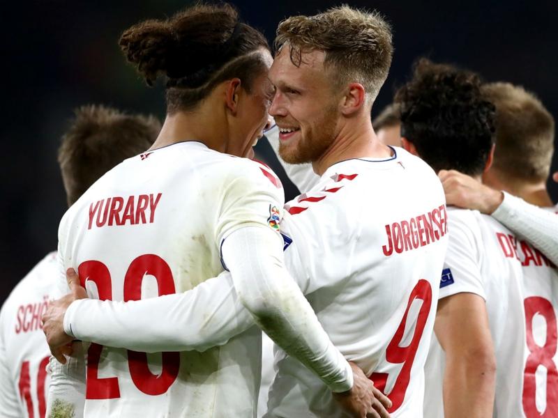 Wales 1 Denmark 2: Jorgensen and Braithwaite seal Nations League promotion