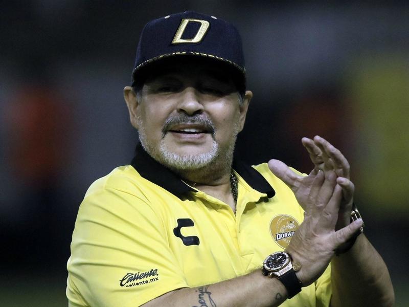Mexique - Dorados de Sinaloa : Diego Maradona fête avec ses joueurs la qualification en finale d'accession