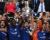 Chelsea celebrate with the FA Cup