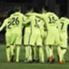 Feierten einen souveränen Sieg: Die Spieler von Barca im ungewohnten Gelb