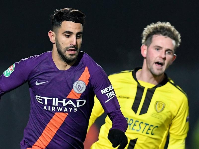 Riyad Mahrez rejoices after Manchester City reach League Cup final