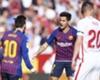 Lionel Messi (L) after scoring against Sevilla