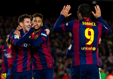 Suarez enjoying Messi and Neymar link up