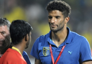 David James and Trevor Morgan of Kerala Blasters FC during ISL match against FC Pune City