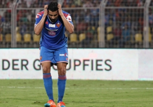 Andre Santos of FC Goa reacts after missing his penalty shoot against Atletico de Kolkata during ISL semi final match