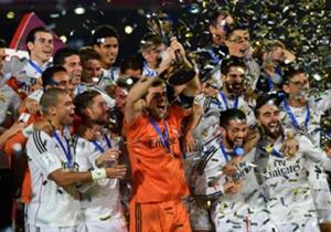 Sambutan meriah ditunjukkan pemain Real Madrid usai memastikan memenangi final Piala Dunia Antarklub 2014 melawan San Lorenzo.