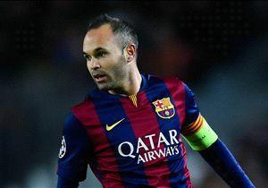 Iniesta en un partido con el Barcelona