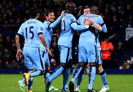 Three-goal City keep the pace at WBA