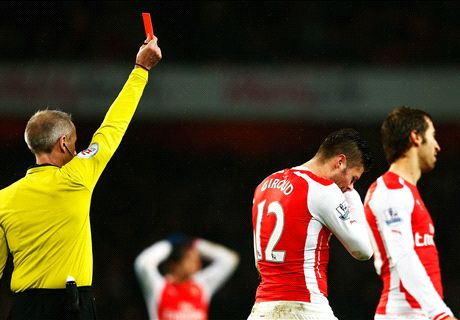 Wenger: Giroud red was deserved